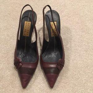 Badgley Mischka Maroon Leather Heels Size 38 (8)